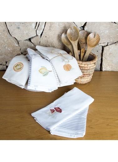 Chakra Mantar Mutfak Havlusu 2li 40x60 cm Beyaz Beyaz